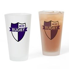 Rugby Shield White Purple Drinking Glass