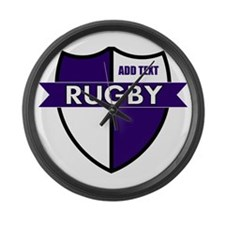 Rugby Shield White Purple Large Wall Clock