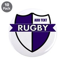 """Rugby Shield White Purple 3.5"""" Button (10 pack)"""
