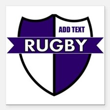 """Rugby Shield White Purple Square Car Magnet 3"""" x 3"""