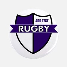 """Rugby Shield White Purple 3.5"""" Button"""