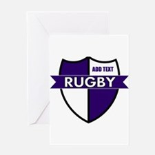 Rugby Shield White Purple Greeting Card