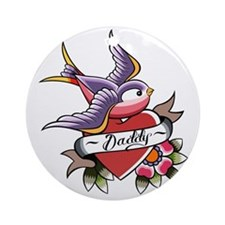 Tattoo heart daddy Round Ornament