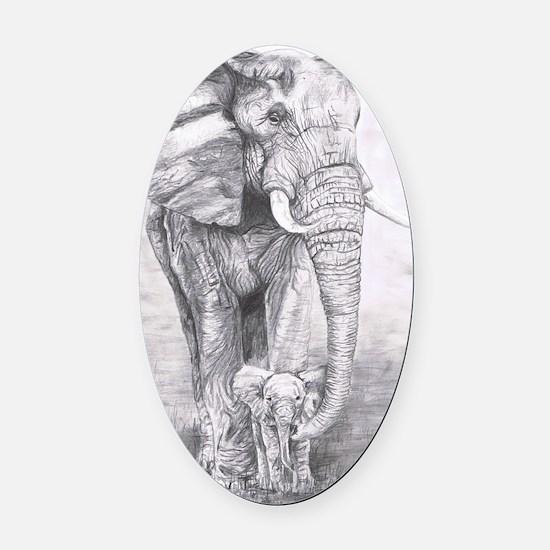 African Elephants Oval Car Magnet