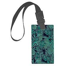 Turquoise and Navy Batik Luggage Tag