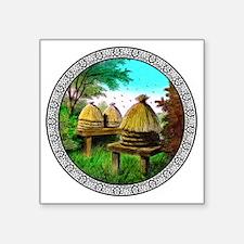 "Masonic Bee Hive Square Sticker 3"" x 3"""