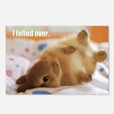 Cute bunny fell over  Postcards (Package of 8)