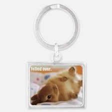 Cute bunny fell over  Landscape Keychain