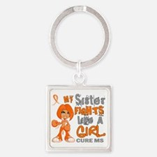 D Sister Fights Like Girl MS 42.9 Square Keychain