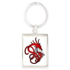 Norse Dragon - Red Portrait Keychain