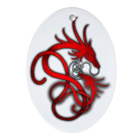 Norse Dragon - Red Oval Ornament