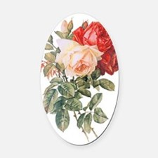 Three Roses Oval Car Magnet