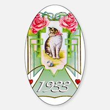 Art Deco Cat, 80th Birthday Sticker (Oval)