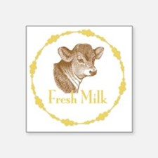 """Fresh Milk with Young Calf Square Sticker 3"""" x 3"""""""