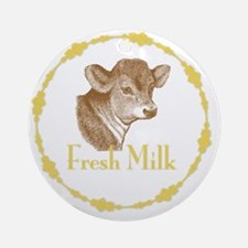 Fresh Milk with Young Calf Round Ornament