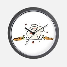 Easter Bunny with Carrots Wall Clock