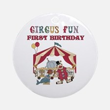 Circus Fun 1st Birthday Ornament (Round)