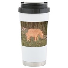 Two horses in a field Travel Coffee Mug