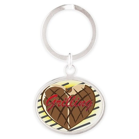 Grilling Love Oval Keychain