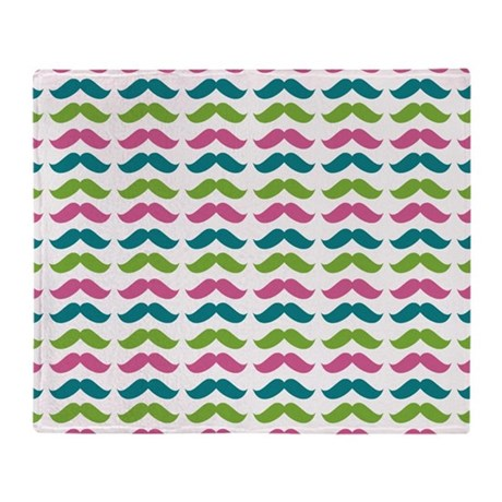 Muti-Color Mustache Pattern Throw Blanket