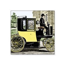 """Early electric taxi cab Square Sticker 3"""" x 3"""""""