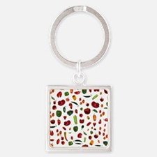 Chili Peppers Square Keychain