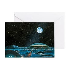 Earth seen above a city on the Moon Greeting Card