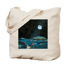 Earth seen above a city on the Moon Tote Bag