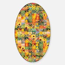 Spring Flower Patchwork Quilt Sticker (Oval)