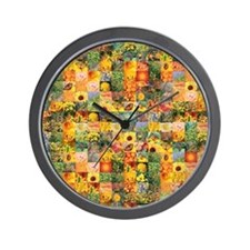 Spring Flower Patchwork Quilt Wall Clock
