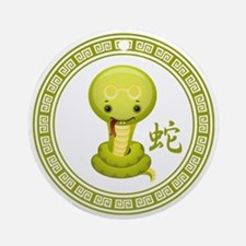 Cute Chinese Year of the Snake Round Ornament