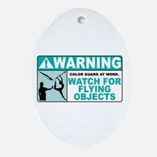 Flying Objects, Teal Oval Ornament