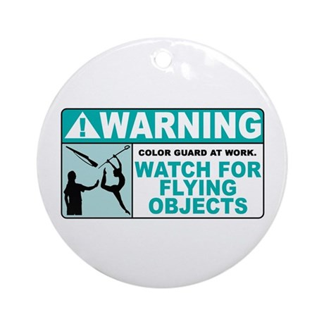 Flying Objects, Teal Ornament (Round)