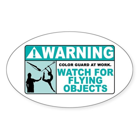 Flying Objects, Teal Oval Sticker