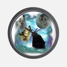 Wolves Misty Shine 01 Wall Clock