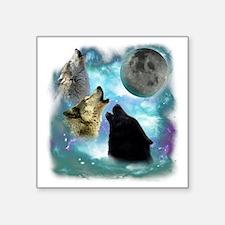 "Wolves Misty Shine 01 Square Sticker 3"" x 3"""