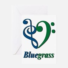 Treble_Bass_Bluegrass_BlueGreen Greeting Card