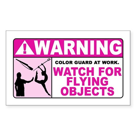 Flying Objects, Pink Rectangle Sticker