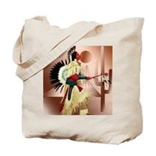 Native American Warrior and Cactus Tote Bag