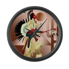 Native American Warrior and Cactu Large Wall Clock