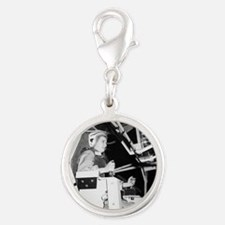 Female astronaut training Silver Round Charm