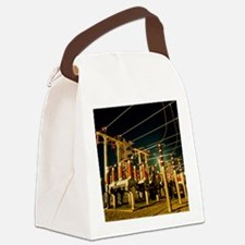 Electricity substation at night Canvas Lunch Bag