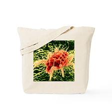 False-colour SEM of Tetranychus, a red sp Tote Bag