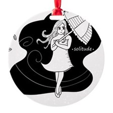 Girl carrying an umbrella on windy  Ornament