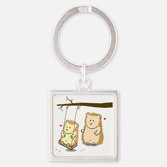 Cute Cartoon Hedgehog couple at tr Square Keychain