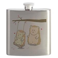 Cute Cartoon Hedgehog couple at tree swing  Flask