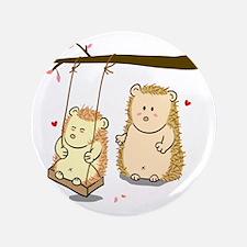"Cute Cartoon Hedgehog couple at tree s 3.5"" Button"