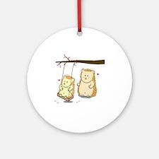 Cute Cartoon Hedgehog couple at tre Round Ornament