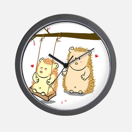 Cute Cartoon Hedgehog couple at tree sw Wall Clock