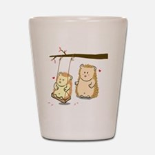 Cute Cartoon Hedgehog couple at tree sw Shot Glass